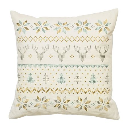 Winter Fair Isle Cushion - Cut Out - Duck Egg & Olive