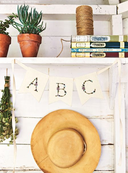 Arbour Alphabet Flags 1 from Secret Garden Embroidery by Sophie Simpson