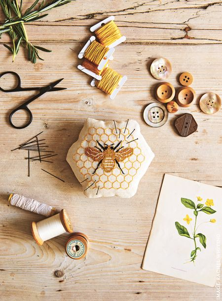 Honey Bee Pin Cushion from Secret Garden Embroidery by Sophie Simpson