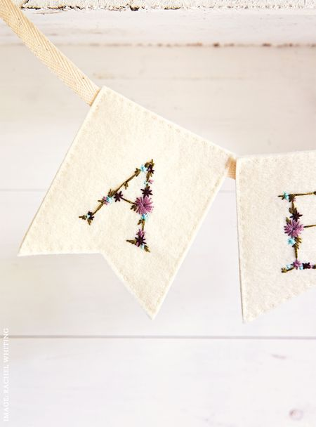 Arbour Alphabet Flags 2 from Secret Garden Embroidery by Sophie Simpson