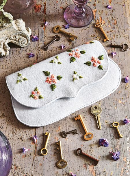 Floribunda Clutch Bag from Secret Garden Embroidery by Sophie Simpson