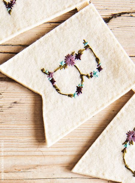 Arbour Alphabet Flags 3 from Secret Garden Embroidery by Sophie Simpson